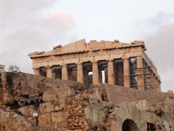 Photograph - Acropolis Parthenon Palace Architectural Columns Structures Construction Remodeling In Athens Greece by John Shiron