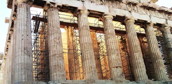 Photograph - Acropolis Parthenon Palace Giant Architectural Columns During Rehabilitation Athens Greece by John Shiron