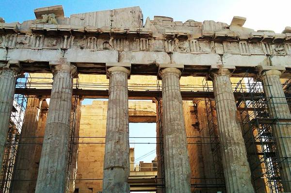 Photograph - Acropolis Parthenon Palace II Giant Architectural Columns During Rehabilitation Athens Greece by John Shiron