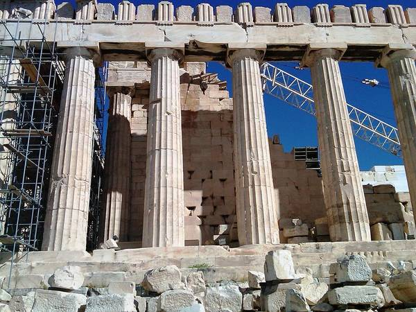 Photograph - Acropolis Parthenon Palace IIi Giant Architectural Columns During Rehabilitation Athens Greece by John Shiron