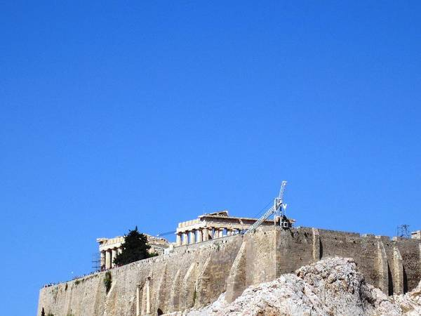 Photograph - Acropolis Parthenon Remain On This Ancient Hilltop As They Get A Facelift In Athens Greece by John Shiron