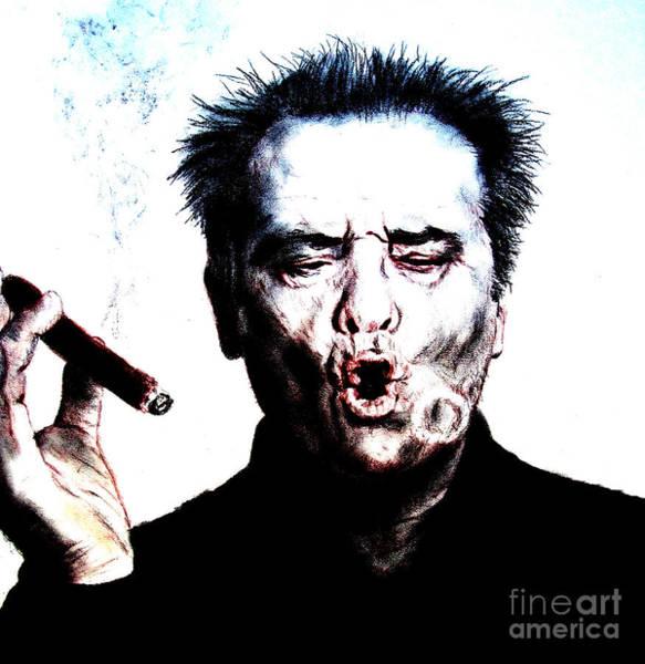 Cuckoo Drawing - Actor Jack Nicholson Smoking  II by Jim Fitzpatrick