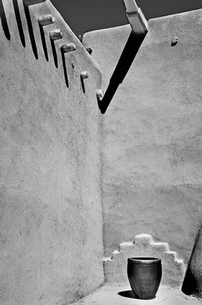 Photograph - Adobe Wall And Pot by Melany Sarafis