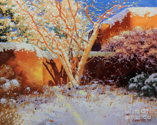 Enchantment Painting - Adobe Wall With Tree In Snow by Gary Kim