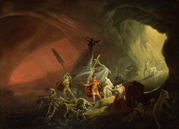 The Demon Wall Art - Painting - Aeneas And The Sibyl by English School