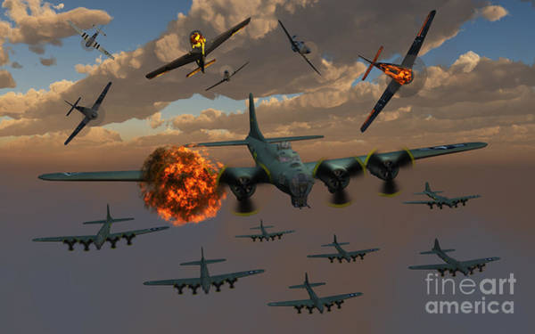 Debris Digital Art - Aerial Combat Between German by Mark Stevenson