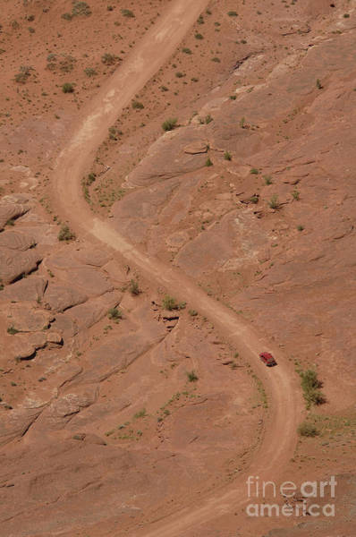 Sandy Point State Park Photograph - Aerial Of Suv On Dirt Road by Thom Gourley/Flatbread Images, LLC