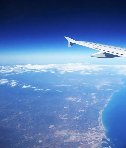 Photograph - Aerial View IIi Airplane Flying Over Valencia In Spain Headed East Towards The Mediterranean Sea by John Shiron
