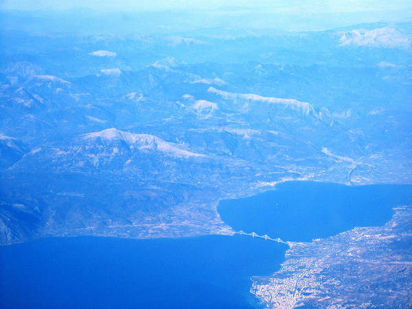 Photograph - Aerial View Of Bridge Connecting South Of Greece To North On The Way Towards Athens Greece by John Shiron