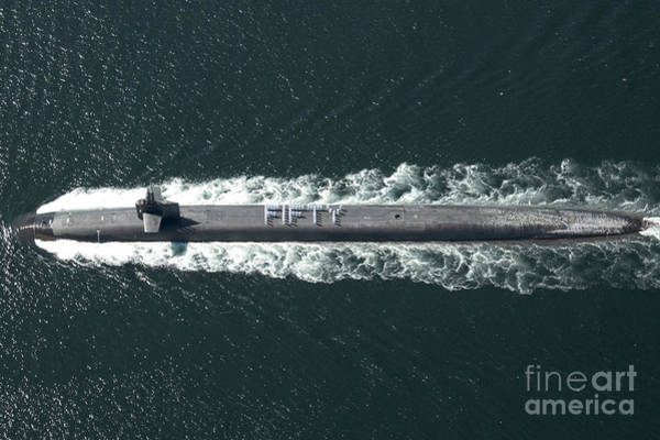 Uss Whidbey Island Photograph - Aerial View Of Sailors Lined by Stocktrek Images