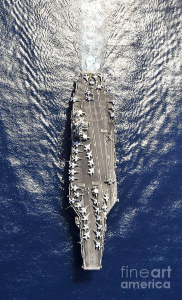 Flight Deck Photograph - Aerial View Of The Aircraft Carrier Uss by Stocktrek Images