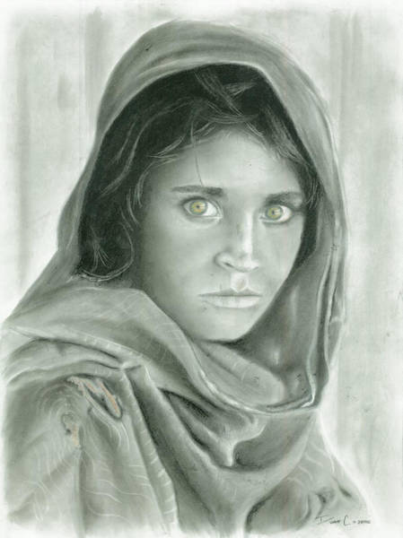 Lady Bug Drawing - Afghan Girl In Charcoal by Duane Cabahug