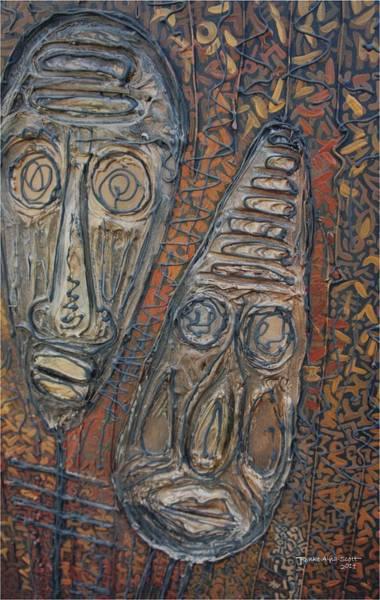 Nigeria Painting - African Masks by Aderonke Aina-Scott