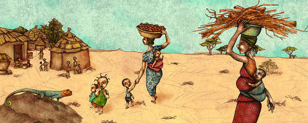 Wall Art - Painting - Africans by Autogiro Illustration