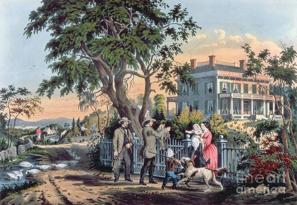White Picket Fence Painting - After The Hunt by Currier and Ives