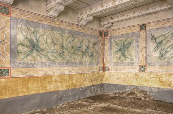 La Purisima Mission Photograph - Aging Wall Murals On Adobe Walls by Douglas Orton