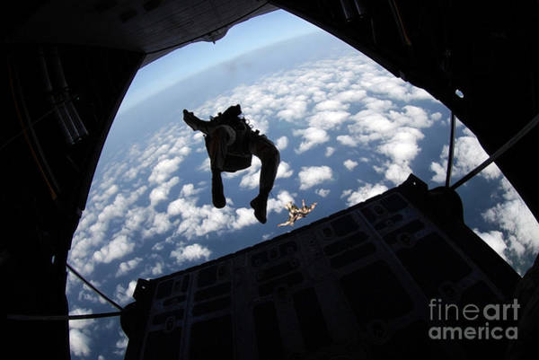 Skydiver Photograph - Air Force Members Practice Jumping by Stocktrek Images