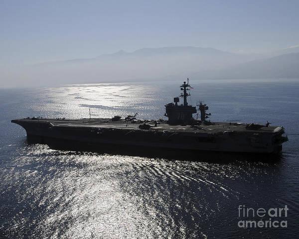 Uss Carl Vinson Photograph - Aircraft Carrier Uss Carl Vinson Awaits by Stocktrek Images