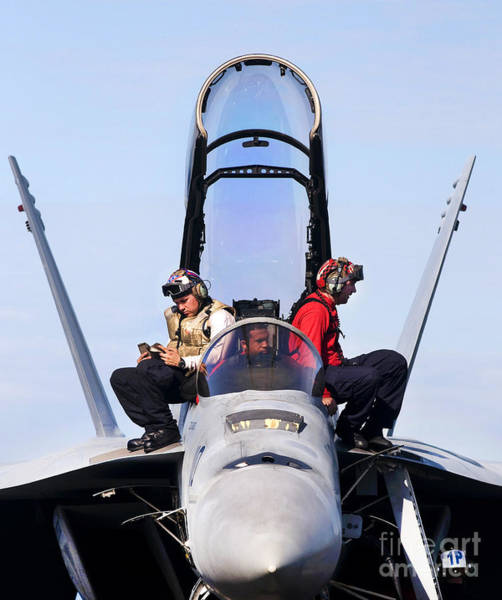 Uss Carl Vinson Photograph - Airmen Perform A Weapons Release Check by Stocktrek Images