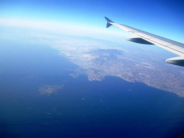 Photograph - Airplane Wing Aerial View Mediterranean Sea South Of Greece On The Way Towards Athens Greece by John Shiron