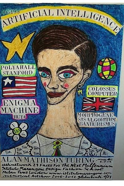 Alan Turing Wall Art - Pastel - Alan Mathison Turing  by Francesco Martin