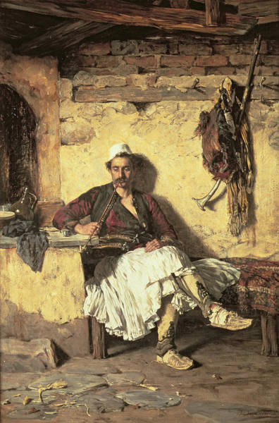 Wall Art - Painting - Albanian Sentinel Resting by Paul Jovanovic