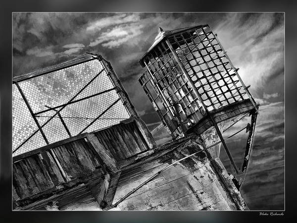 Photograph - Alcatraz Gaurd Cage Bw by Blake Richards