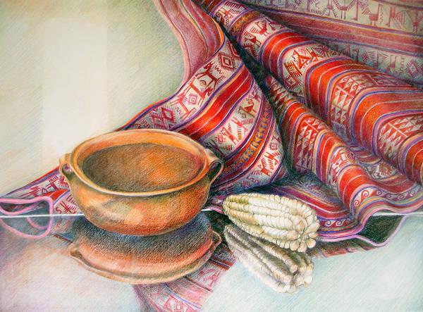 Indian Corn Drawing - Alfareria Sobre Aguayo Con Choclo by Sonia Tudela