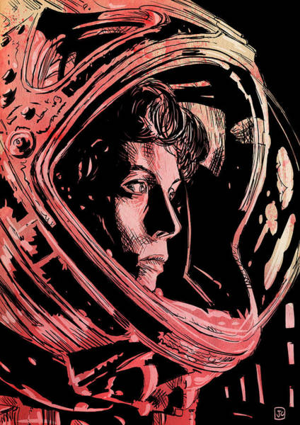 Outer Space Wall Art - Drawing - Alien Sigourney Weaver by Giuseppe Cristiano