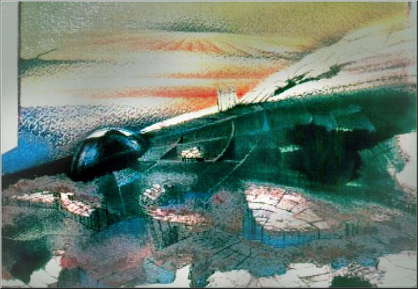 Painting - Alienscape 1982 by Glenn Bautista