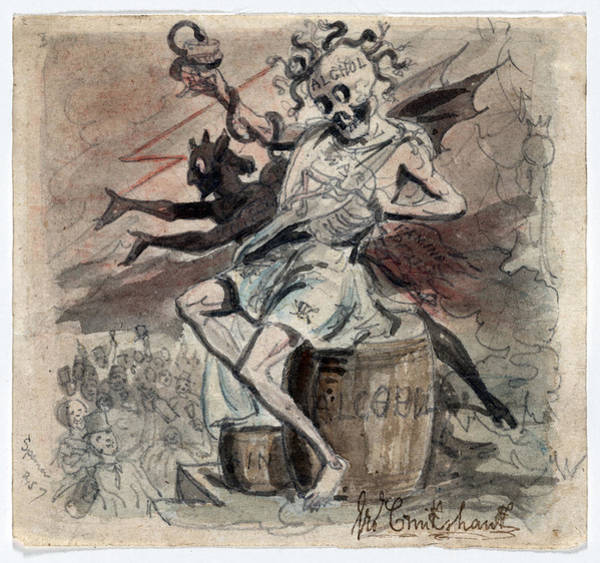 Temperance Movement Photograph - Allegory Of The Demon Alcohol by Everett