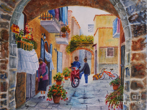 Painting - Alley Chat by Karen Fleschler