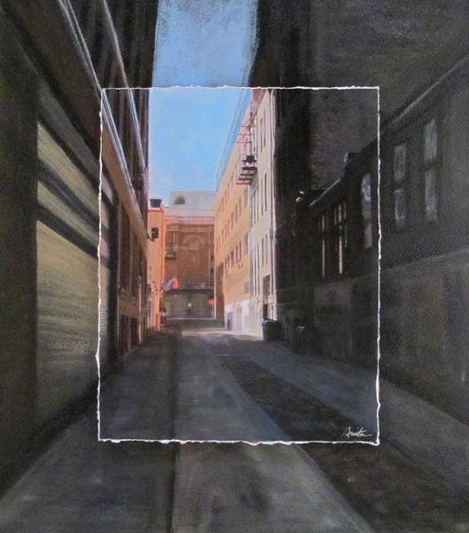 Mixed Media - Alley Front Street Layered by Anita Burgermeister