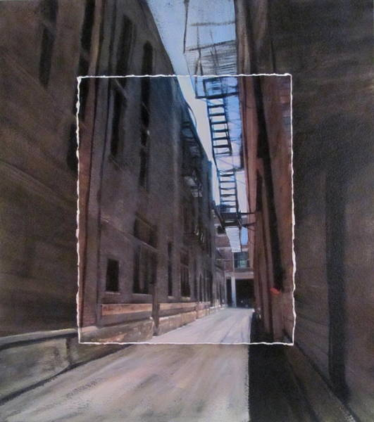 Mixed Media - Alley With Fire Escape Layered by Anita Burgermeister
