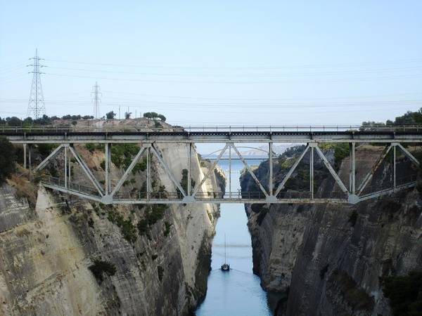 Photograph - Amazing Corinth Canal Bridge Crossing In Greece by John Shiron