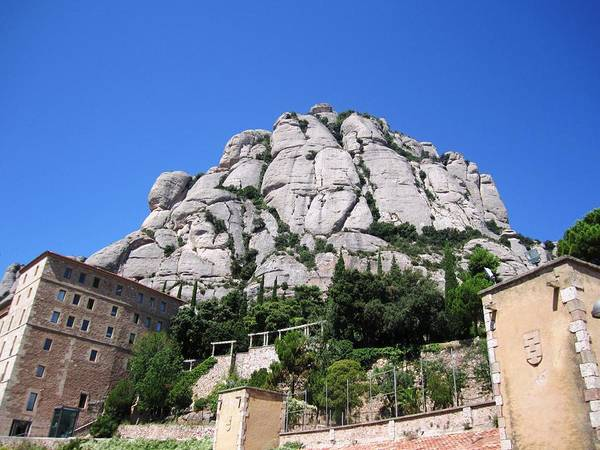 Photograph - Amazing Montserrat Monastery Mountain Rock Barcelona Spain by John Shiron