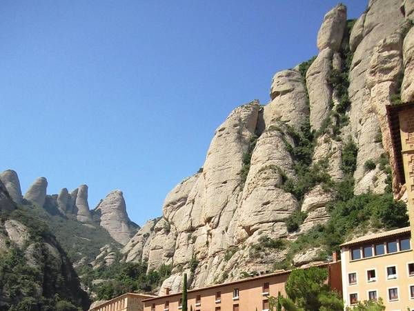 Photograph - Amazing Montserrat Mountain Rock Encapsulated Buildings II Near Barcelona Spain by John Shiron