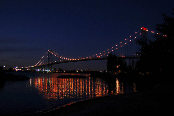 Photograph - Ambassador Bridge At Night by Wade Clark