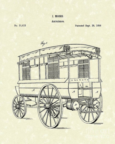 Cart Drawing - Ambulance Moses 1858 Patent Art by Prior Art Design