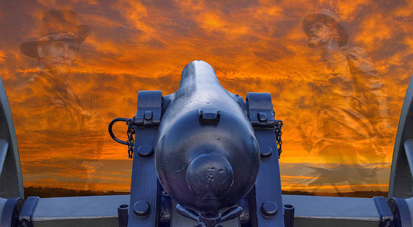 Artillery Digital Art - American Civil War Back In Time Sunset by Randy Steele