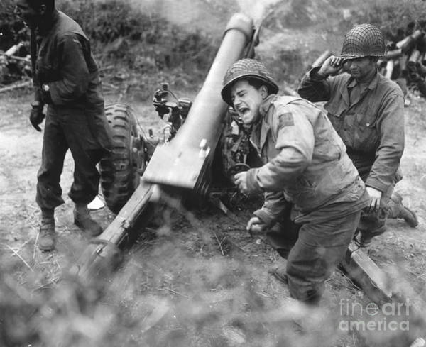Battle Field Photograph - American Howitzers Shell German Forces by Stocktrek Images