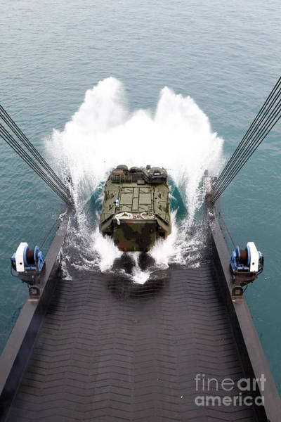 Amphibious Assault Ship Wall Art - Photograph - Amphibious Assault Vehicles Disembark by Stocktrek Images