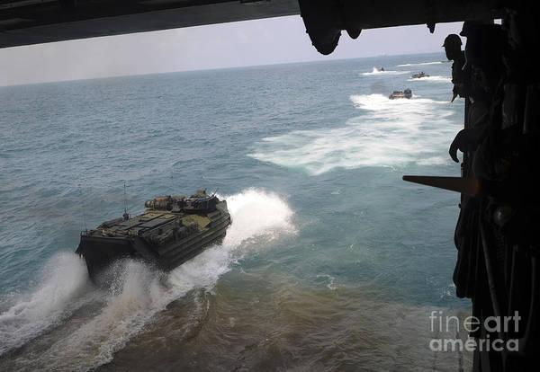 Aav Photograph - Amphibious Assault Vehicles Exit by Stocktrek Images