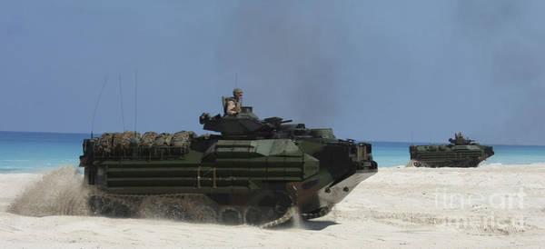 Aav Photograph - Amphibious Assault Vehicles Raid by Stocktrek Images