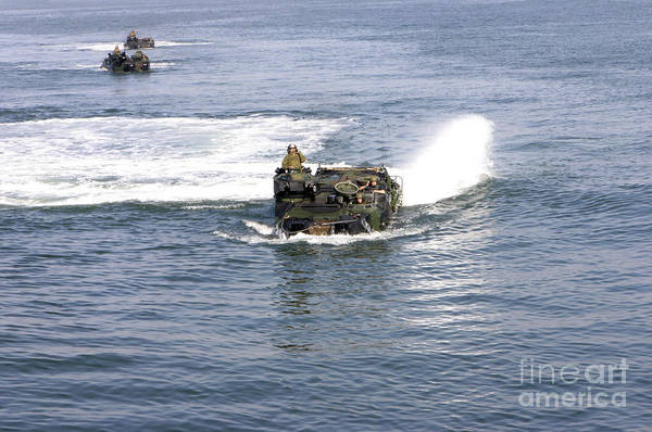 Uss Whidbey Island Photograph - Amphibious Assault Vehicles by Stocktrek Images