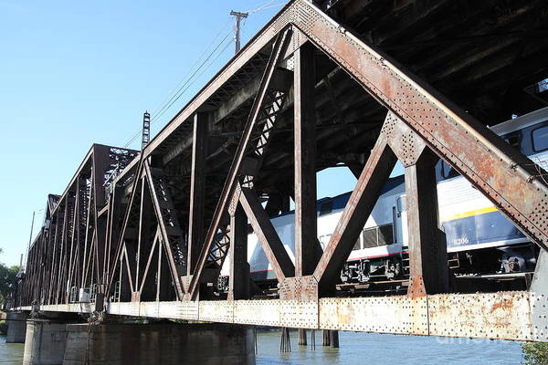 Amtrak California Crossing The Old Sacramento Southern Pacific Train Bridge . 5d18583 Art Print