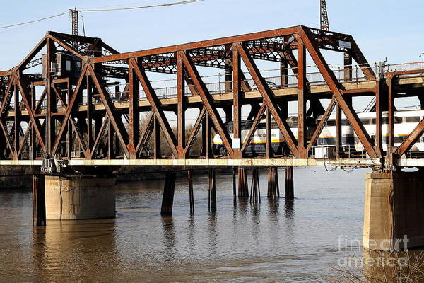Photograph - Amtrak California Crossing The Old Sacramento Southern Pacific Train Bridge . 7d11675 by Wingsdomain Art and Photography