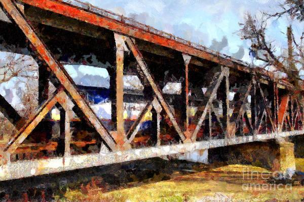 Amtrak California Crossing The Old Sacramento Southern Pacific Train Bridge . Painterly 7d11410 Art Print
