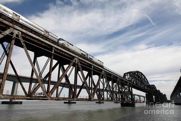 Carquinez Bridge Wall Art - Photograph - Amtrak Train Riding Atop The Benicia-martinez Train Bridge In California - 5d18723 by Wingsdomain Art and Photography