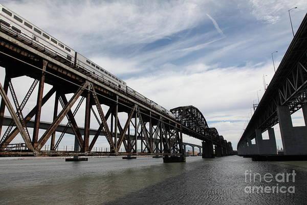 Carquinez Bridge Wall Art - Photograph - Amtrak Train Riding Atop The Benicia-martinez Train Bridge In California - 5d18727 by Wingsdomain Art and Photography
